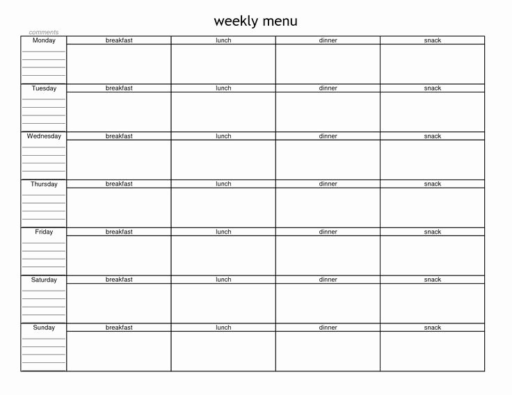 Free Blank Menu Templates Fresh Blank Weekly Menu Planner Template