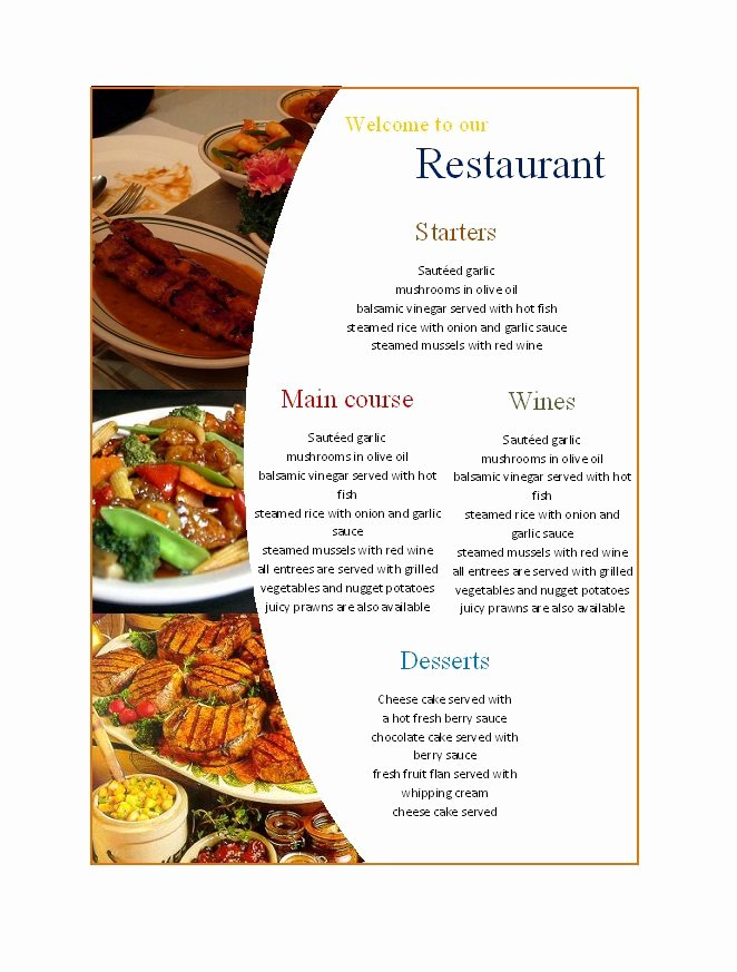 Free Blank Menu Templates Inspirational 31 Free Restaurant Menu Templates & Designs Free