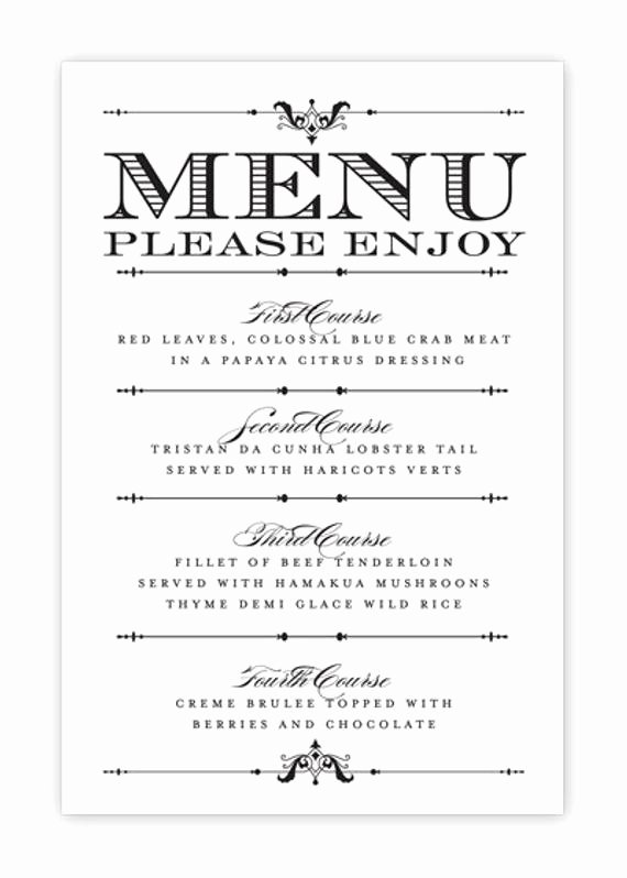 Free Blank Menu Templates Luxury Wedding Menu Card Printable Diy by Hesawsparks On Etsy