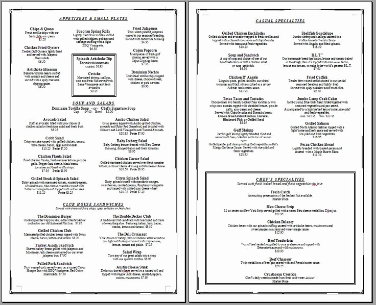 Free Blank Menu Templates Unique Free Printable Template Restaurant Menus