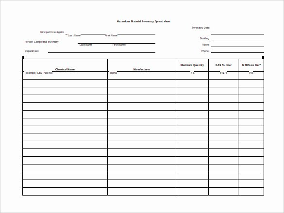 Free Blank Spreadsheet Templates Elegant Sample Hazardous Material Inventory Blank Spreadsheet with