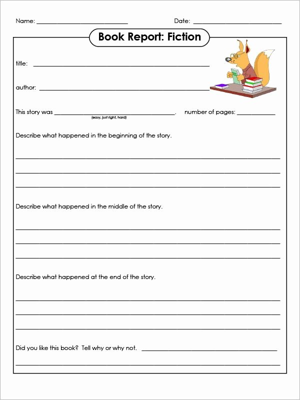 Free Book Report Templates Awesome 5 1st Grade Book Report