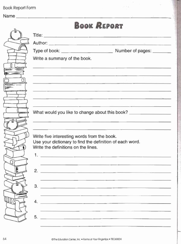 Free Book Report Templates Best Of Book Report Worksheet