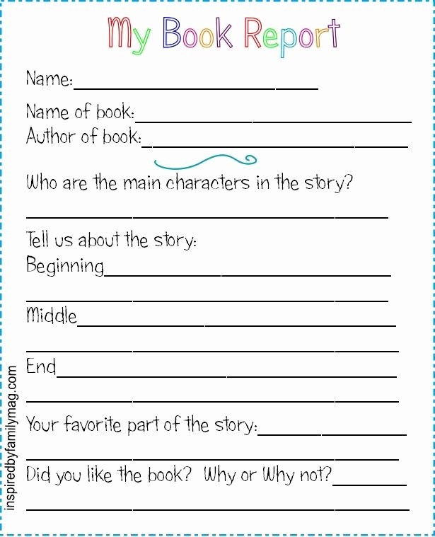 Free Book Report Templates Inspirational Printable Book Report forms Elementary