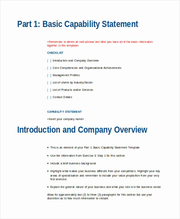 Free Capability Statement Template Word Fresh Free 34 Statement Examples In Doc