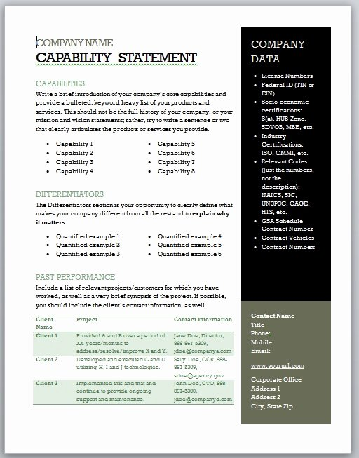 Free Capability Statement Template Word Fresh Get Started Quickly