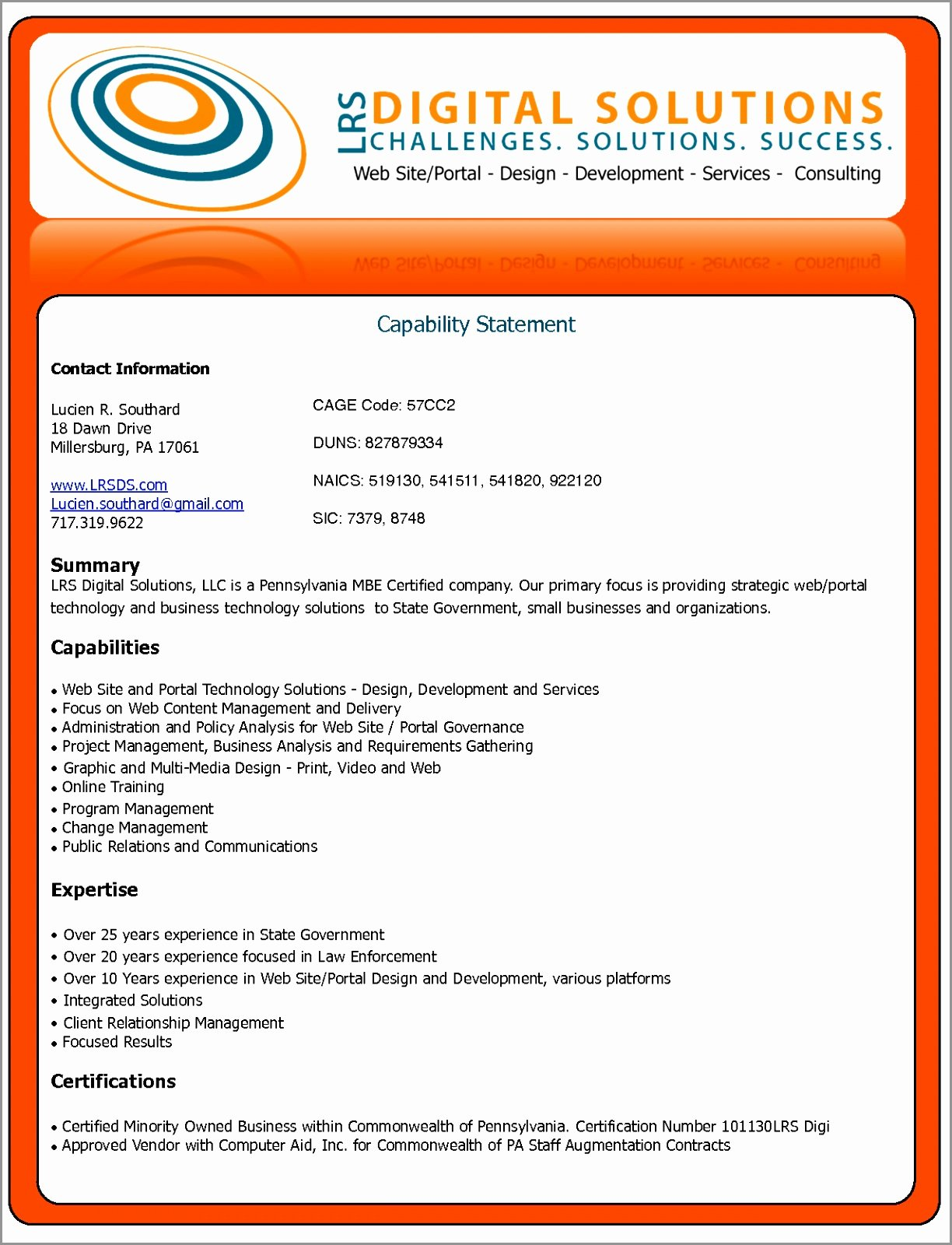 Free Capability Statement Template Word Inspirational Sample Capability Statement Templates – 15 Free Documents