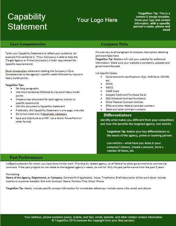 Free Capability Statement Template Word Unique Capability Statement Editable Template Green Tar Gov