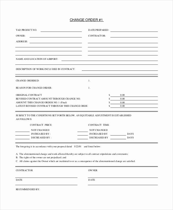 Free Change order Template Awesome Change order form