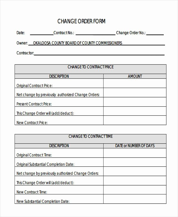 Free Change order Template Inspirational Change order forms 9 Free Word Pdf format Download