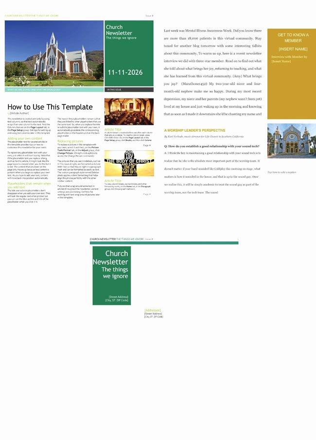 Free Church Newsletter Templates Elegant Free Church Newsletter Templates Editable In Microsoft Word