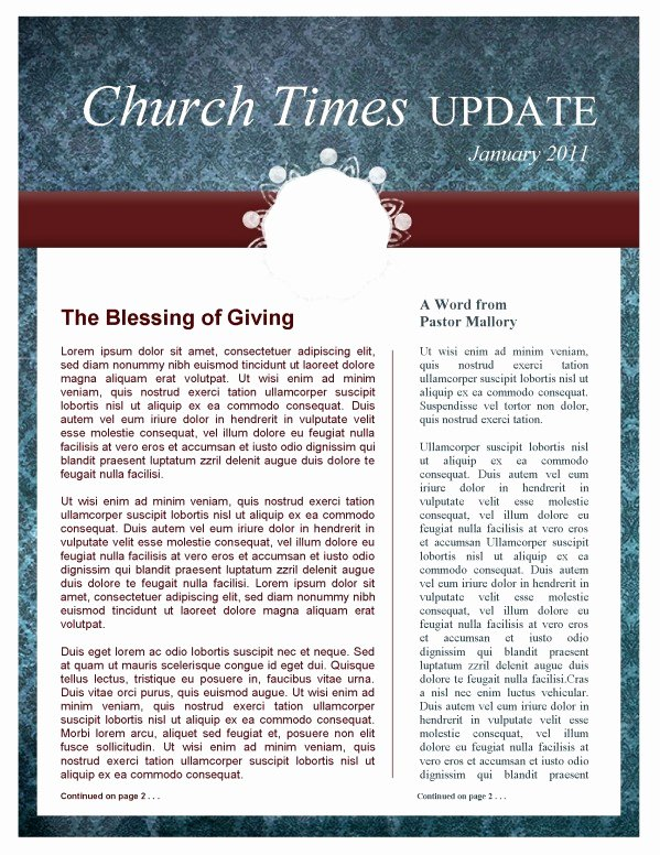 Free Church Newsletter Templates Lovely Circle Pattern Church Newsletter Template