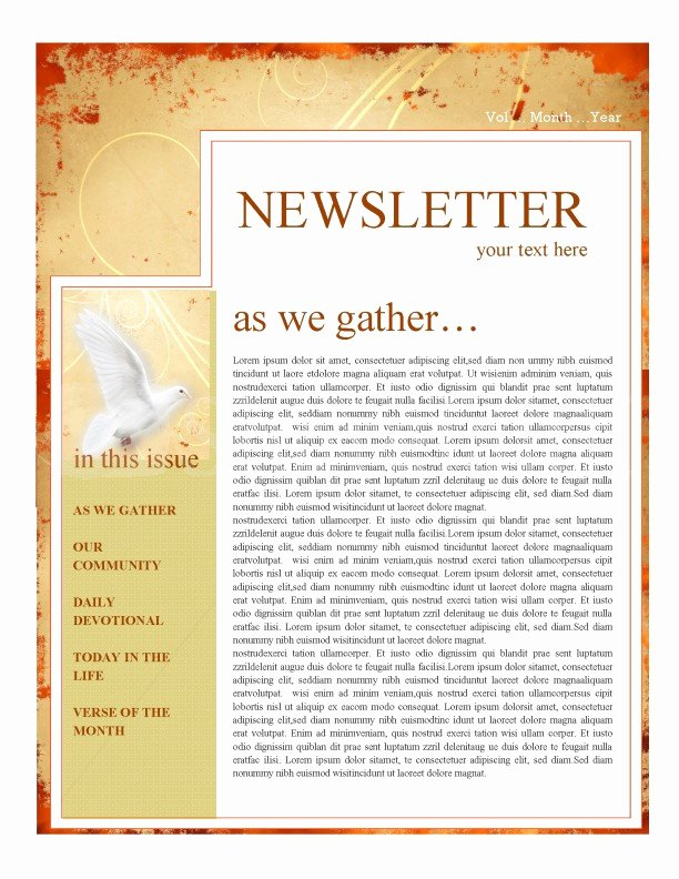 Free Church Newsletter Templates Lovely Pentecost Church Newsletter Template