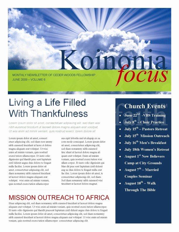 Free Church Newsletter Templates Luxury Sun Rays Church Newsletter