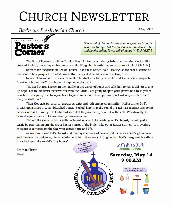 Free Church Newsletter Templates New Sample Church Newsletter 9 Documents In Pdf