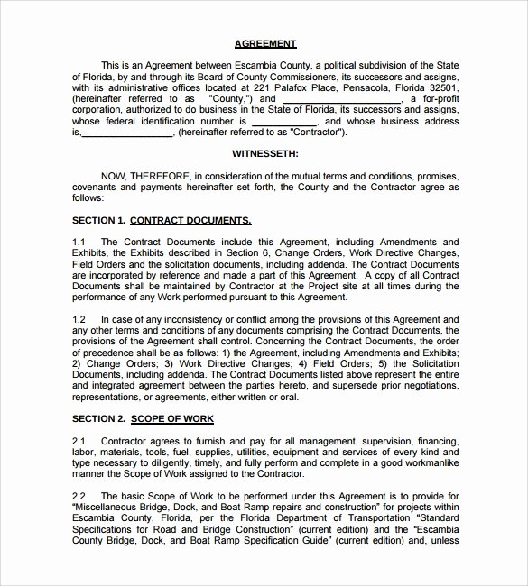 Free Construction Contract Template Beautiful Free 10 Construction Contract Templates In Pdf