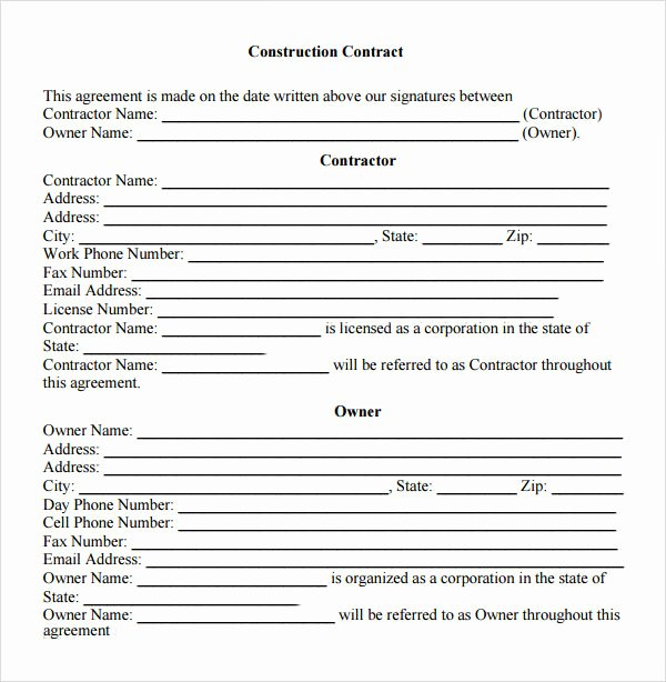 Free Construction Contract Template Best Of Free 5 Sample Contractual Agreements In Pdf