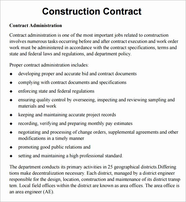 Free Construction Contract Template Elegant Construction Contract 7 Free Pdf Download