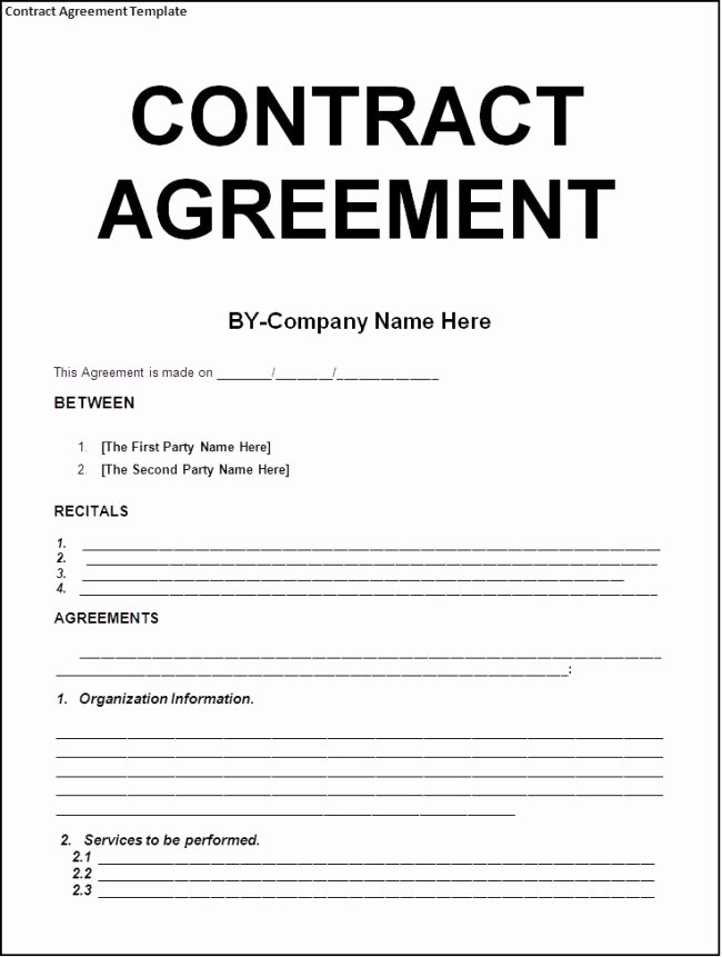 Free Construction Contract Template New Simply Nice Template Design for Contract Agreement with