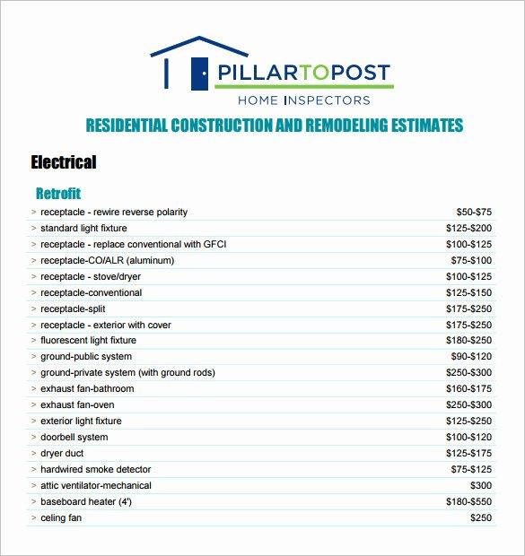 Free Construction Estimate Template Pdf Elegant Free Contractor Estimate forms