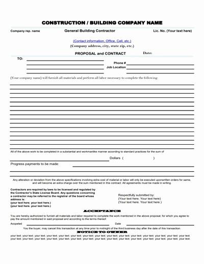 Free Construction Estimate Template Pdf Inspirational Construction Proposal Template Free Download Create