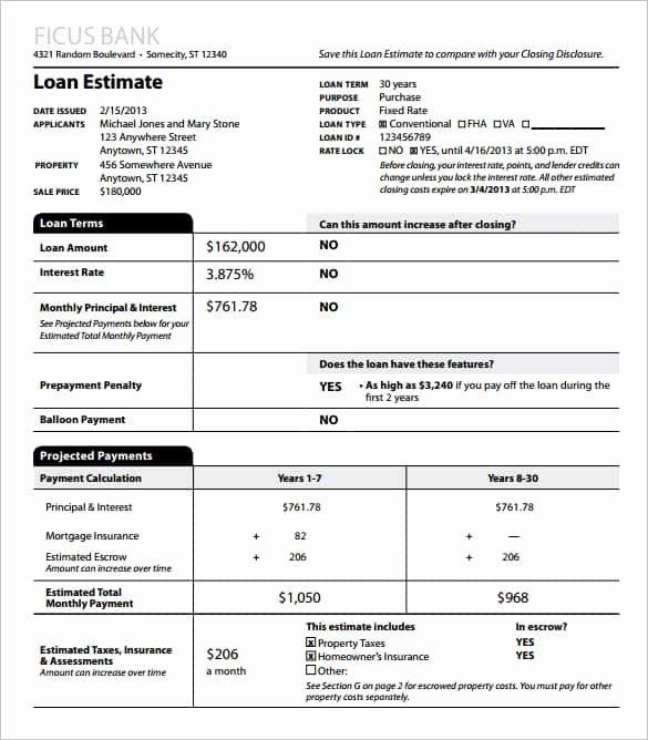Free Construction Estimate Template Pdf Unique Loan Estimate why It S Important