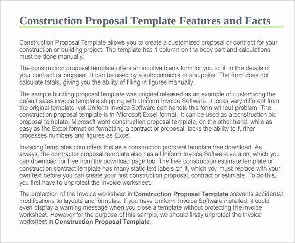 Free Construction Proposal Template Beautiful Sample Construction Proposal Template 15 Free Documents