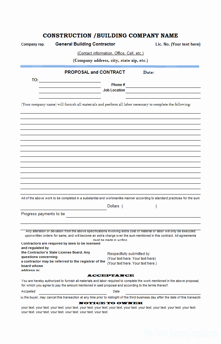 Free Construction Proposal Template Best Of Free Construction Proposal Template Construction