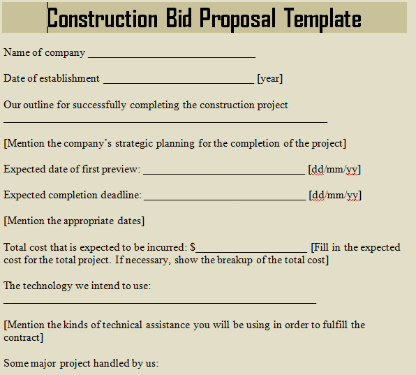 Free Construction Proposal Template Elegant Construction Bid Proposal Template Microsoft Excel Templates