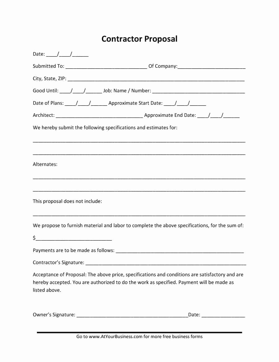 Free Construction Proposal Template Inspirational 31 Construction Proposal Template & Construction Bid forms
