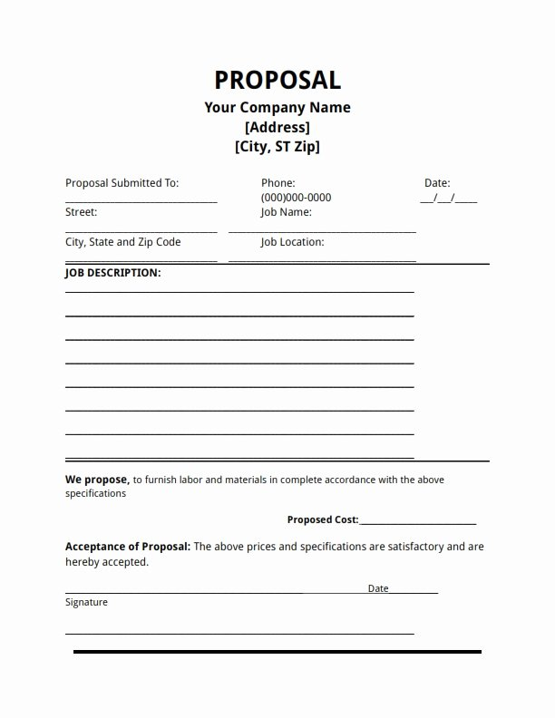 Free Construction Proposal Template Luxury Free Proposal Template