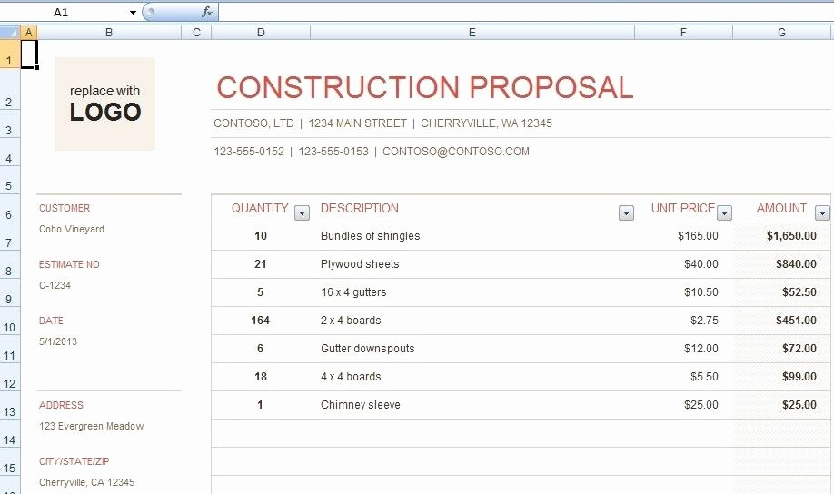 Free Construction Proposal Template New Download Free Construction Bid Proposal Template
