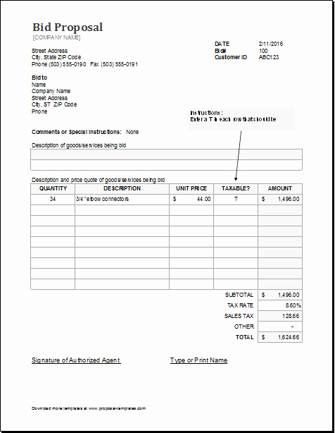 Free Construction Proposal Template Pdf Lovely Bid Proposal Template for Ms Excel