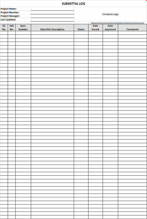 Free Construction Submittal form Template Unique Free Submittal Log Template for Excel