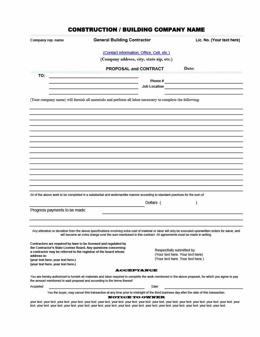 Free Contractor Proposal Template Lovely 31 Construction Proposal Template & Construction Bid forms