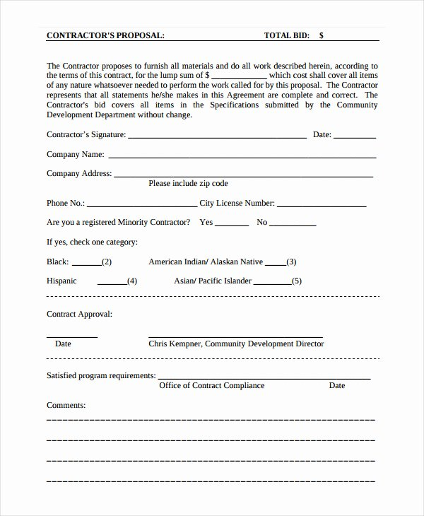 Free Contractor Proposal Template Luxury General Contractor Proposal Template Free