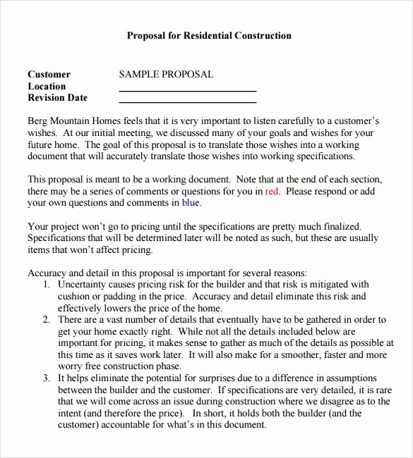 Free Contractor Proposal Template New Sample Contractor Proposal 13 Documents In Pdf Word