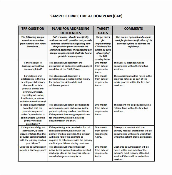 Free Corrective Action Plan Template Awesome Corrective Action Plan Template