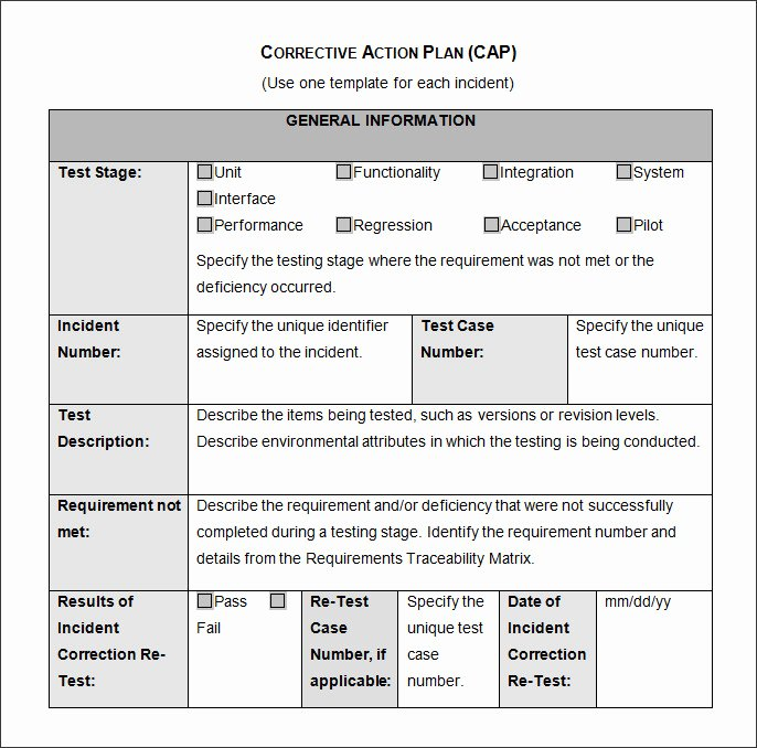 Free Corrective Action Plan Template Best Of Corrective Action Plan Template 22 Free Word Excel