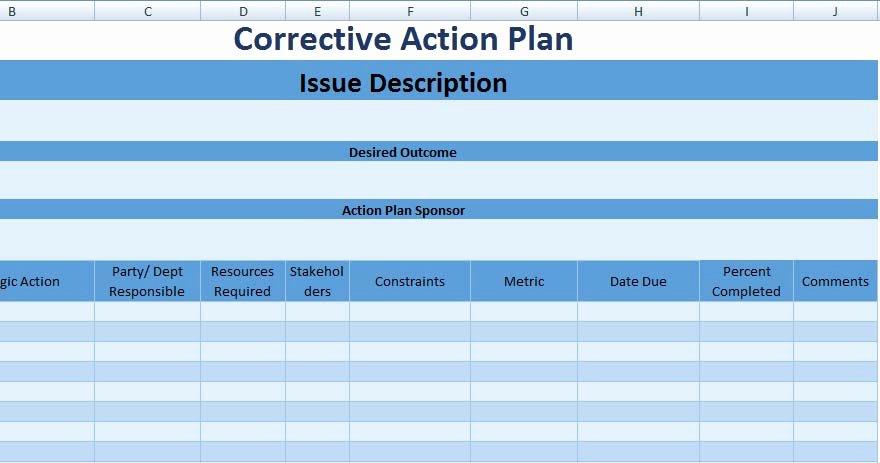 Free Corrective Action Plan Template Unique 3 Free Project Action Plan Template Xls Free Excel