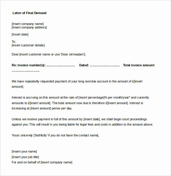 Free Demand Letter Template Beautiful Pensation Letter for Damages