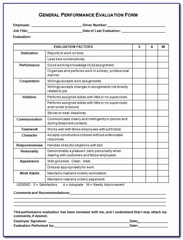 Free Employee Evaluation forms Templates Awesome Free Employee Evaluation forms