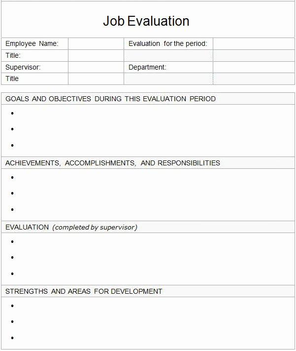 Free Employee Evaluation forms Templates Fresh Sample Job Evaluation 9 Documents In Word Pdf
