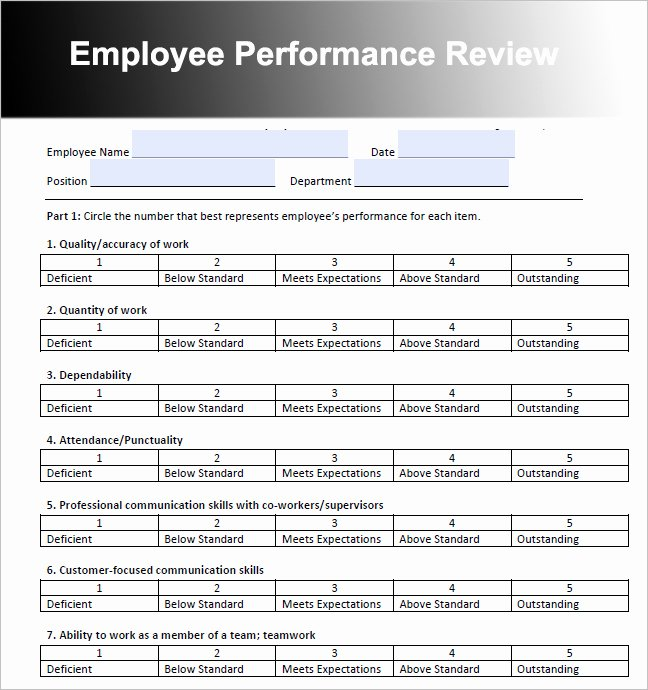 Free Employee Evaluation forms Templates Lovely Employee Performance Review Template