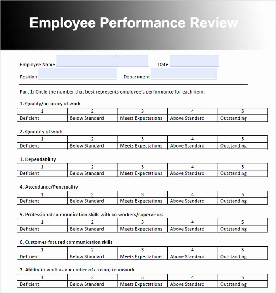 Free Employee Evaluation forms Templates Unique Employee Review Template