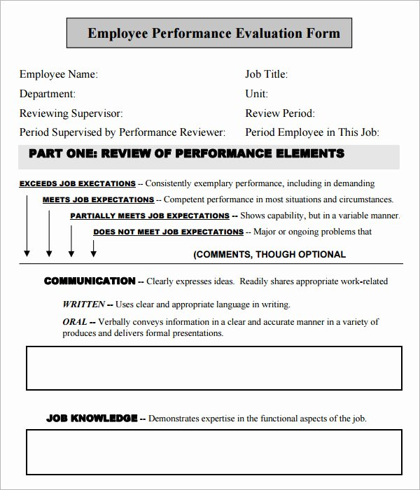 Free Employee Evaluation forms Templates Unique Free Employee Evaluation forms Printable