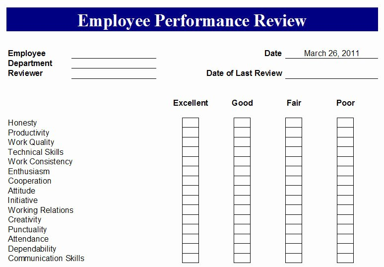 Free Employee Performance Review Template Awesome Employee Performance Review form