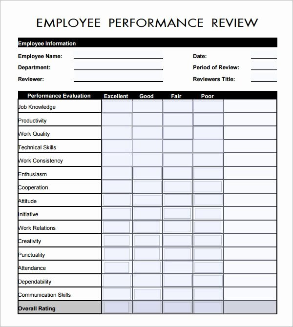 Free Employee Performance Review Template Beautiful Employee Evaluation form Pdf