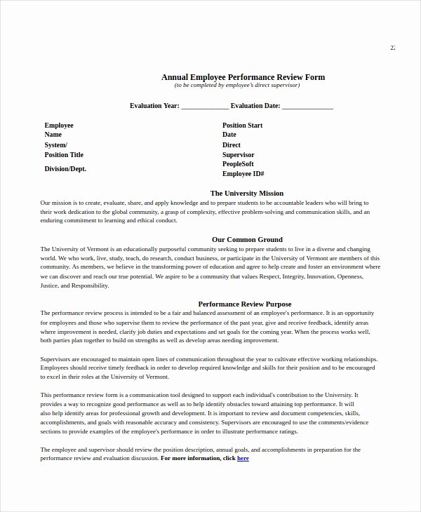 Free Employee Performance Review Template Lovely Employee Review Templates 13 Free Pdf Documents