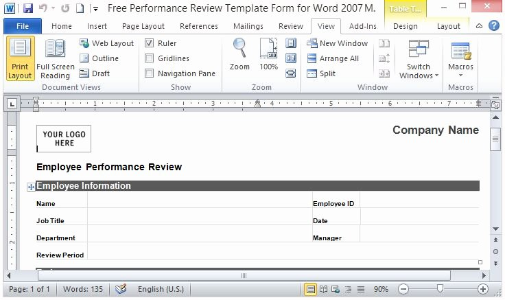 Free Employee Performance Review Template Lovely Free Performance Review Template form for Word 2007